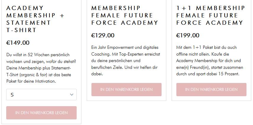 Female Future Force Kursangebot. Coaching schon ab nur 129,- €